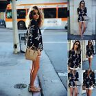 NEW WOMEN SUMMER CASUAL TOPS LONG SLEEVE V NECK BLOUSE CHIFFON FLORAL T-SHIRT