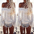 Women's Off Shoulder Lace Flare Sleeve Shirts Top Summer Casual Beach Tee Blouse