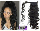 Long wavy Ponytail Clip in 100% Remy Human Hair Extensions Long Body Wave 15-22'