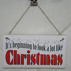 Christmas Xmas Wall Sign Plaque It's Beginning to look a lot like Wood Decor New