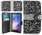 For Samsung Galaxy S8 / S8 Plus Bling Diamonds Leather Flip Wallet Case Cover