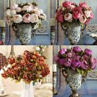 1 Bouquet Artificial Fake Peony Silk Flower Bridal Hydrangea Wedding Party Decor