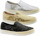 New Ladies Women Flats Slip On Casual Sequin Espadrilles Skater Pumps Shoes Size