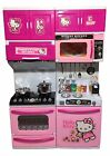 Toys Kitchen set Children Kids Cooker Microwave Oven Pink Stove Play Food Hot