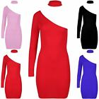 Womens Ladies One Shoulder Long Sleeve Choker Neck Party Bodycon Fit Mini Dress