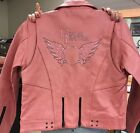 PINK LEATHER MOTORCYCLE JACKET SMALL TO 3XL NEW 283