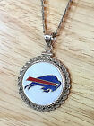 STERLING SILVER ROPE PENDANT W/ NFL BUFFALO BILLS a SETTING JEWELRY GIFT