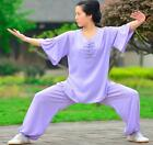 High Quality Women Cotton & Linen Medium Sleeve Tai Chi Uniform Kung Fu Suits