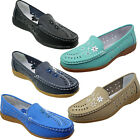 Annabelle Ladies Leather Flat Slip On Casual Walking Office Shoes Non Slip Soles