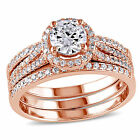 Rose Gold over Silver CZ Engagement Bridal Promise Solitaire Vintage Ring Set