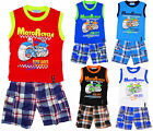 Boys Motorcycle Drag Bike Vest Top & Check Combat Shorts Set 2 to 14 Years NEW