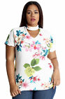 New Womens Plus Size Top Ladies Floral Print Crepe Choker Neck T-Shirt Nouvelle