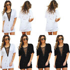Women Cold Loose Holes Lace Up V Neck T-Shirts Casual Loose Tops Blouse Dress