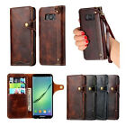Soft Genuine Leather Wallet Flip Case W/Strap Cover for Samsung Galaxy S8/Plus