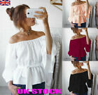 UK Womens Off The Shoulder Summer Tops Ladies Blouses Casual Stretch T...