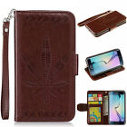 Brown Relief maple leaf carving Photo frame Card strap wallet Leather phone case