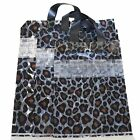 Wholesale Lot of 50 Leopard Print Frosted Plastic Shopping Merchandise Tote Bags