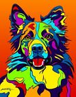 Made in USA Multi-Color Border Collie Dog Breed Matted Print Wall Decor
