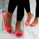 New Womens Comfy Flat Sandals Jelly Bow Dolly Peep Toe Low Heel Shoes Sizes