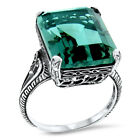 ANTIQUE STYLE 925 STERLING SILVER LAB GREEN AMETHYST FILIGREE RING,         #927