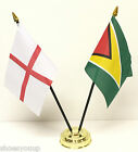 ANGLETERRE & GUYANA Double amitié table drapeau Set + BASE