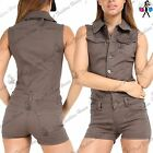 Women's Casual Collared Denim Pockets Dungaree Sleeveless Jumpsuit Playsuit