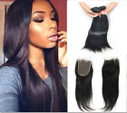 8A Unprocessed Brazilian human hair 3pcs/150g Straight +1pc 4x4 Lace closure