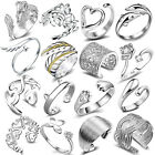 Women 925 Sterling Silver Plated Rings Adjustable Wedding Engagement Jewellery