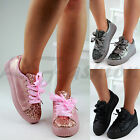 New Womens Chunky Creepers Flatform Lace Up Trainers Glitter Plimsolls Shoes