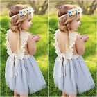 Flower Girls Princess Dress Kids Baby Party Wedding Pageant Lace Dresses Clothes