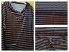 Knitted Jersey 100% Cotton Fabric 160 cm wide Navy & Brown Stripes