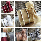 15, 25, 38mm Rose Gold Metallic Wired Ribbon. Silver White Red Christmas Wedding