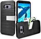 For Samsung Galaxy S8 /S8 Plus Premium Hybrid Armor Card / Cash Slot Cover Case
