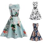 Fashion Women Ladies Summer Sleeveless Dress Casual Floral Printed Vintage Dress