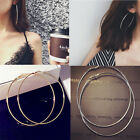1Pair Vintage Womens Smooth Gold Silver Big Hoop Earrings Metal Circle Leverback