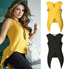 2017 Womens Fashion Top Sleeveless O Neck Asymmetry Loose Blouse T-Shirt Summer