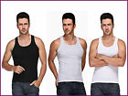 3 Pieces MENS 100% COTTON RIBBED FITTED VESTS GYM TRAINING SUMMER