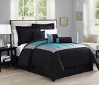7 Piece Rosslyn Black/Teal Comforter Set image