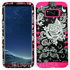 for Samsung Galaxy S8 & Plus Hybrid Silicone Cover Case - Flower Rose Black 37