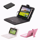 7 Inch PU Leather Tablet Case with Micro USB Keyboard Stand Cover for Tablets