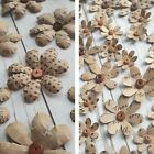 Kraft Paper Flowers with Wooden Bead Centres Polka Dot, Music script, Card