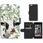 Phone Card Slot PU Leather Wallet Case For Apple iPhone curious cow cash king