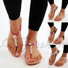 New Womens Flat Sandals Toe Post Ankle Strap Bead Embellished Summer Shoes Sizes