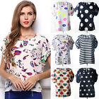 Women's Summer Chiffon Top Dot Star Batwing Short Sleeve Loose Shirt Blouse Tops