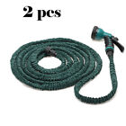 2 PCS Durable 25 50 75 100 FT Expandable Flexible Garden Water Hose Spray Nozzle