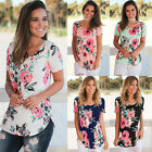 2017 NEW Short Sleeve Women O-Neck Floral Printed Blouse Casual Tops T Shirt