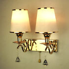 Modern Indoor Gold Double Wall Lamp Chrome&Crystal shade Sconce with Rope Switch