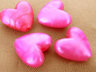 11x12mm 50/100pcs OPAQUE GLOSS DEEP PINK ACRYLIC HEART BEADS TY3877