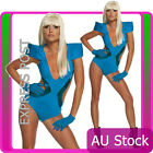 Lady Gaga Poker Face Swimsuit Blue Pop Rock Star Swimwear Ladies 80s Costume