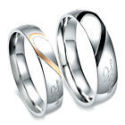 Lovers Stainless Steel Womens Mens Heart Carved Wedding Band Ring Engagement